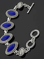 Браслет с лазуритом маркиз, Синий женские украшения с искусственным камнем № 036624