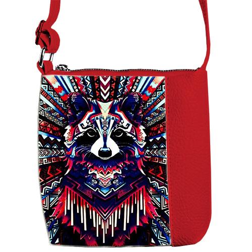 Красная сумка детская Mini Miss с принтом Волк
