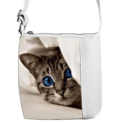 Белая сумка для девочки Mini Miss с кошкой