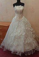 Нежное новое свадебное платье со сложной юбкой, ivory, размер 38-42