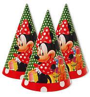 """Колпачки, колпаки праздничные, маленькие """"Минни Маус"""" зелёная в горошек, 10 шт/уп."""