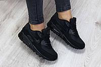 Женские кроссовки Nike Air Max 90 Black черные топ реплика