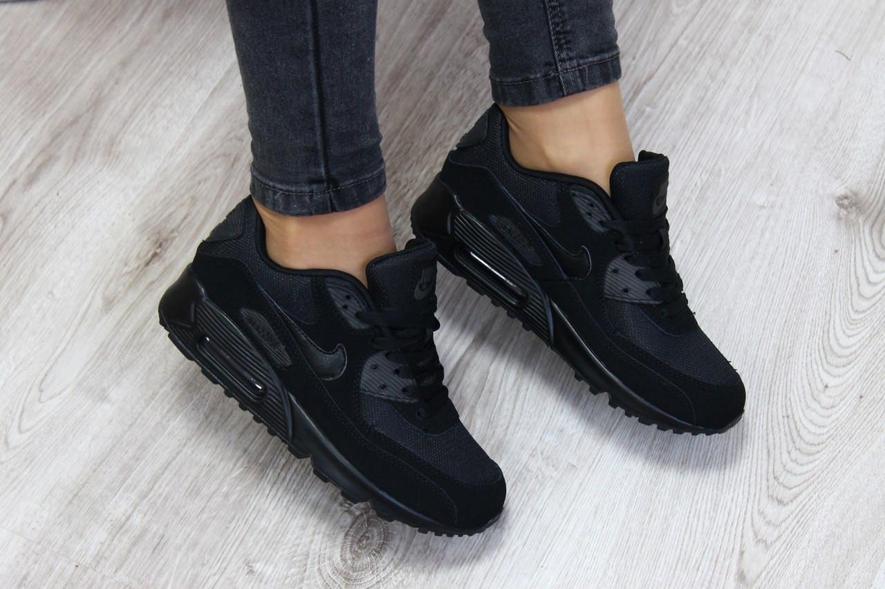 a776a07c Женские кроссовки Nike Air Max 90 Black черные топ реплика - Интернет- магазин обуви и