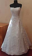 Блестящее новое белое свадебное платье из гипюра, А-силуэт, размер 42-46