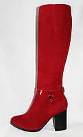 Красные зимние(евро-зима) женские сапоги на каблуке из натуральной замши