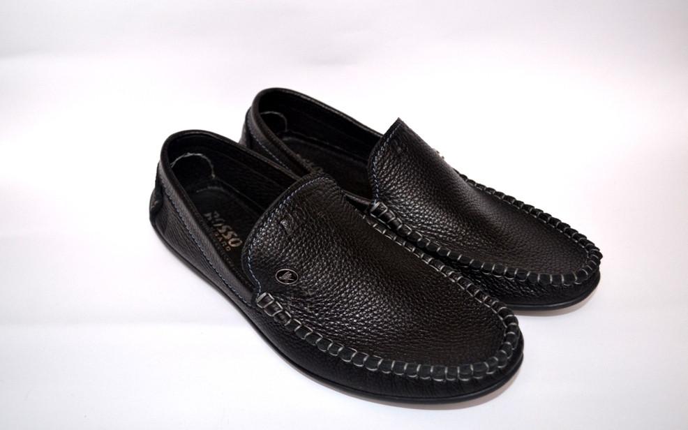 Мокасины больших размеров мужские кожаные черные натуральные Rosso Avangard BS Guerin M4 Pelle Bolla, nero