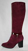 Бордовые зимние(евро-зима) женские сапоги на каблуке из натуральной замши
