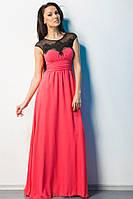 Длинное нарядное платье с кружевом