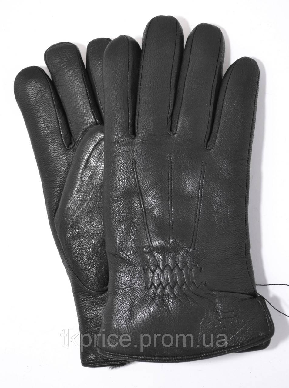 Мужские зимние перчатки из оленьей кожи на цигейке