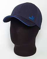 "Мужская кепка бейсболка с логотипом ""Puma"" темно-синяя с кантом цвета электрик (лакоста шестиклинка)"