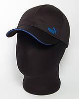 """Черная кепка бейсболка с логотипом """"Puma"""" с кантом цвета электрик (лакоста шестиклинка)"""