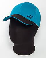 """Спортивная кепка бейсболка с логотипом """"Puma"""" бирюзовая с черным козырьком (лакоста шестиклинка)"""