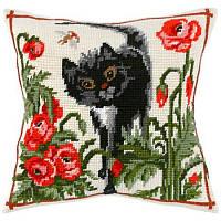Набор для вышивки крестом Чарівниця V-01 Подушка Кот среди маков