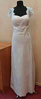Стильное новое белое свадебное платье из гипюра, А-силуэт, размер 44-46