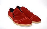 Мокасины мужские замшевые красные Rosso Avangard Tre pulsanti. Red Suede