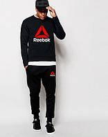 Мужской чёрный спортивный костюм Reebok логотип принт