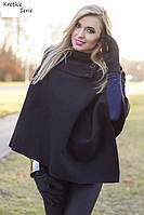Новое шерстяное пальто-пончо итальянское (чёрного цвета)