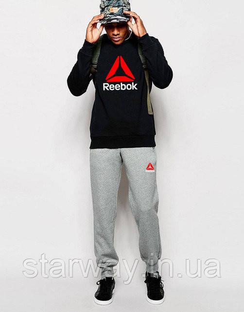 Мужской спортивный костюм Reebok лого | чёрный верх серый низ