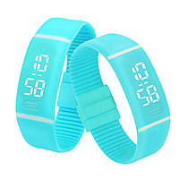 Силиконовые светодиодные Led часы-браслет мужские и женские.Улучшенная новинка!Голубые