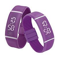 Силиконовые светодиодные Led часы-браслет мужские и женские.Улучшенная новинка!Фиолетовые