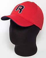 """Бейсболка спортивная  красная """"R"""" с темно-синим подкозырьком, лакоста пятиклинка"""