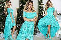 Платье  в пол с гипюром мятное