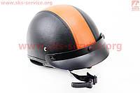 Кожаный шлем каска черно оранжевый  размер XS