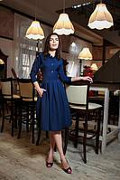 Платье рубашечного покроя с вставками из перфорации