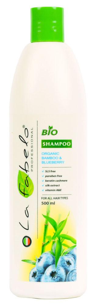 Био-шампунь La Fabelo без SLS и парабенов для всех типов волос с экстрактом бамбука и черники 500мл