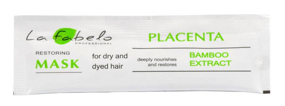 Маска La Fabelo Professional для сухих и окрашенных волос с экстрактом бамбука и пшеничной плацентой 10мл пробник, фото 2
