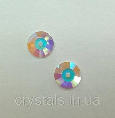 Пришивные паетки хрустальные Preciosa (Чехия) Crystal AB U