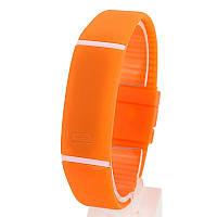 Силиконовые светодиодные Led часы-браслет мужские и женские.Улучшенная новинка!Оранжевые