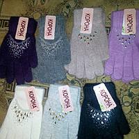 Женские перчатки со стразами Корона, фото 1