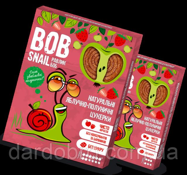 Натуральні яблучно-полуничні цукерки Snail Bob Равлик Боб, 120 г
