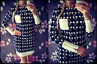 Платье Микки по фигуре Турция Трикотаж Фактурный Платьице Белая Отделка