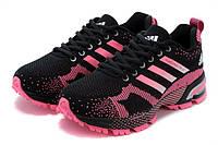 Женские кроссовки  Adidas Marathon Black Pink (адидас марафон) черные