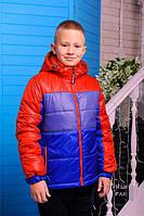 Куртка  демисезонная  для мальчика Бадди (синий-джинс-красный)