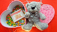 Подарочный набор Жвачки Love is плюшевый мишка шоколад