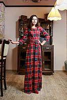 """Классическое женское платье в пол """"Шотландка"""""""