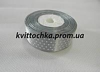Атласная лента в горошек 2,5 см. (23 м.), цвет - серый