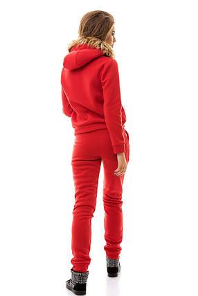 Костюм с капюшоном и мехом красный, фото 2