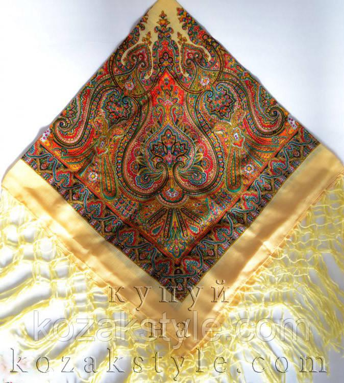 Українська хустка коричнево-жовта