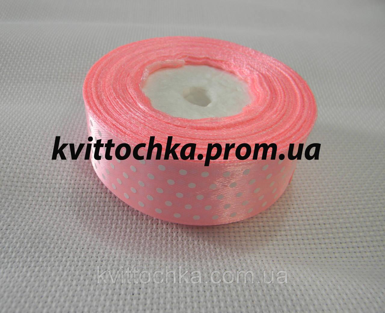 Атласная лента в горошек 2,5 см. (23 м.), цвет - розовый