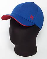"""Ярко-синяя бейсболка """"R"""" с красным подкозырьком (лакоста шестиклинка)"""