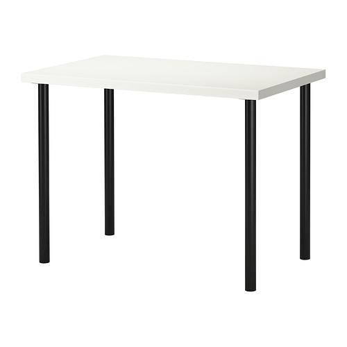 """IKEA """"ЛИННМОН / АДИЛЬС"""" Стол, белый, черный, 100x60 см"""