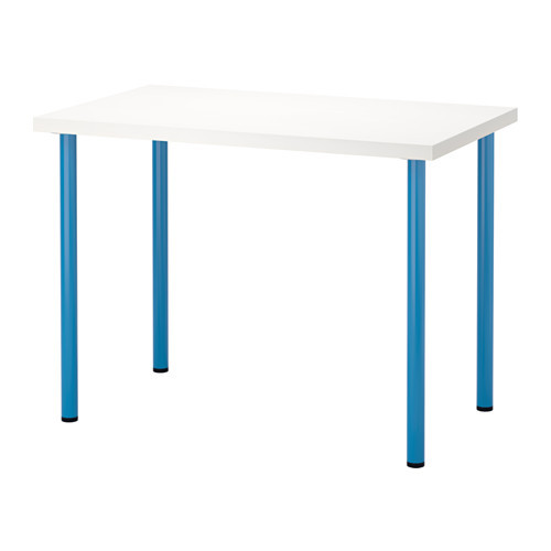 "IKEA ""ЛИННМОН / АДИЛЬС"" Стол, белый, синий, 100x60 см"