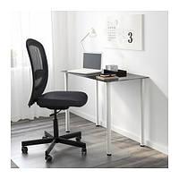 """IKEA """"ГЛАСХОЛЬМ / АДИЛЬС"""" Стол, стекло черный, белый, 99x52 см"""