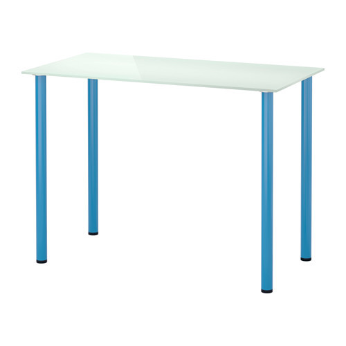 "IKEA ""ГЛАСХОЛЬМ / АДИЛЬС"" Стол, стекло белый, синий, 99x52 см"