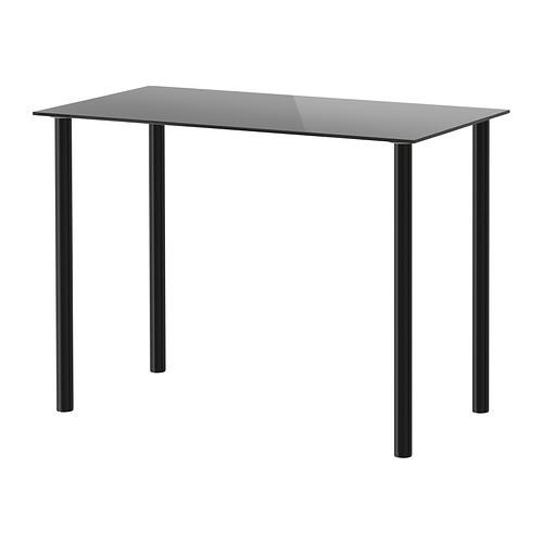 """IKEA """"ГЛАСХОЛЬМ / АДИЛЬС"""" Стол, стекло черный, черный, 99x52 см"""
