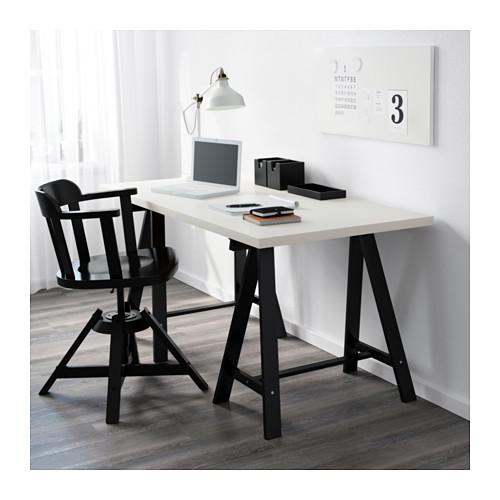 """IKEA """"ЛИННМОН / ОДВАЛЬД"""" Стол, белый, черный , 150x75 см"""